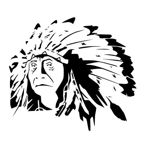 Wadeco Indianer Häuptling Alt Wandtattoo Wandsticker Wandaufkleber 35 Farben verschiedene Größen, 74cm x 65cm, türkisblau
