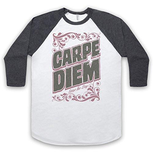 Carpe Diem Seize The Day 3/4 Hulse Retro Baseball T-Shirt Weis & Dunkelgrau