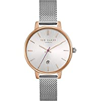 Ted Baker Womens Kate Silver Dial Date Display Rose Gold Case Mesh TE15162011