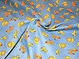 Zoo Time Polycotton-Stoff Kleid Print Blau-Meterware