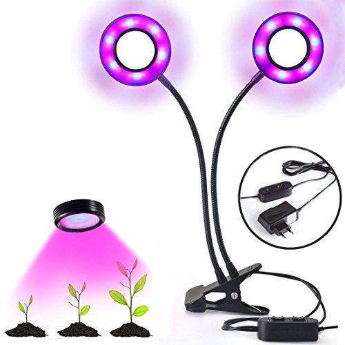 Yugao 24W Lampe de Croissance/Lampe Horticole à Double Tête - Cou Réglable pour des Plantes,des Fleurs et des Légumes Intérieur/de Serre