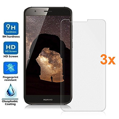 Electrónica Rey 3X Protector de Pantalla para Huawei Ascend G8 / GX8, Cristal Vidrio Templado Premium