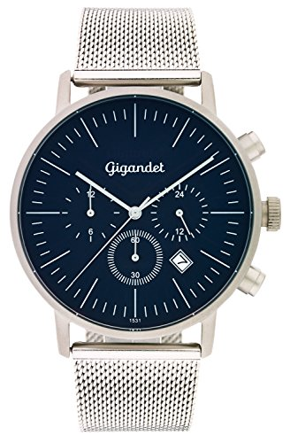 Gigandet Quartz Men's Quartz Watch with Milanese Minimalism III Dual Time Analog Date Stainless Steel Bracelet Silver Blue G22 005