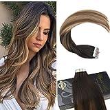 Ugeat 24inch Ombre Tape in Haarverlängerungen 50 Gramm Braun zu Blonde Tape in Haarverlängerungen Remy Haar