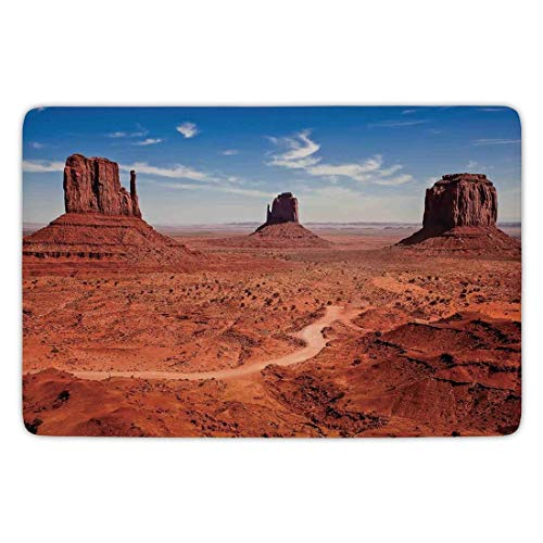 WYICPLO Bathroom Bath Rug Kitchen Floor Mat Carpet,Western Decor,American Desert Arizona Canyon Monuments Valley National Park Wild West,Flannel Microfiber Non-Slip Soft Absorbent,23.6 X 15.7 Inch