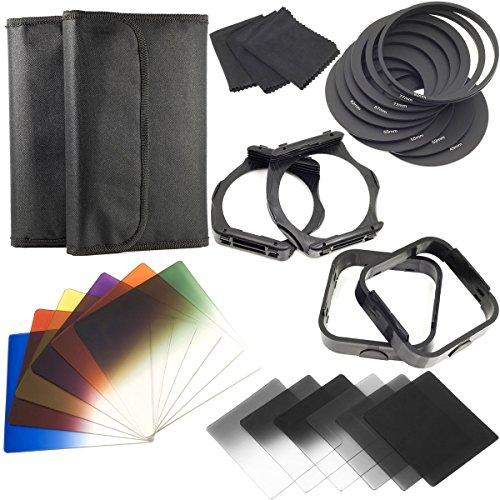 Elfenstall 12-teilige ND Farbfilter + 9 Adapterringe + 2 Halter + 2 Gegenlichtblenden für Cokin -