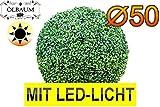 Buchs, Echtbaum-Optik, große Buchskugel Buxbaum Durchmesser 50 cm 500 mm grün dunkelgrün, fertig montiert, auf Wunsch mit Solarbeleuchtung SOLAR LICHT BELEUCHTUNG (Zubehör) mit Terracotta Topf Plastik und stabilem Fuß (Zement) Kunstpflanzen stabile Dekobäumchen künstliche Bäume Bäumchen Kugel Buxbaumkugel + Solarlicht LED Lampe 2 Lampen Lichterbaum Kunstblume Außen- und Innendekoration Balkonsichtschutz Balkon Pflanzen Sichtschutz