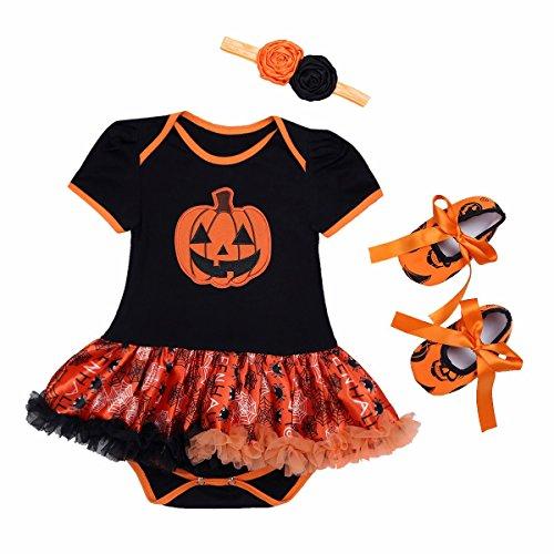 iiniim Baby Mädchen Bekleidungsset Halloween Kürbis Kostüm Strampler Outfits+Stirnband+Schuhe Schwarz&Orange A 50-56/0-3 (Mädchen Halloween Kostüme 03 Monate)
