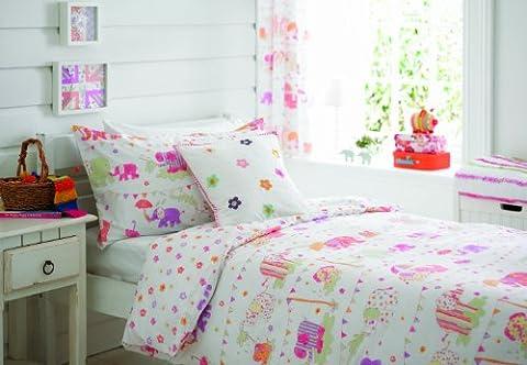 Single Bed Reversible Girls Duvet Cover Set - Jumbo Fun - pink