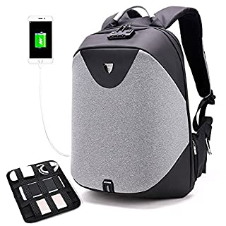 Arctic Hunter Design- Anti Theft Backpack ,Waterproof Travel Backpack with Lock, Slim College School Computer Bag with USB Charging Port Fits 15.6