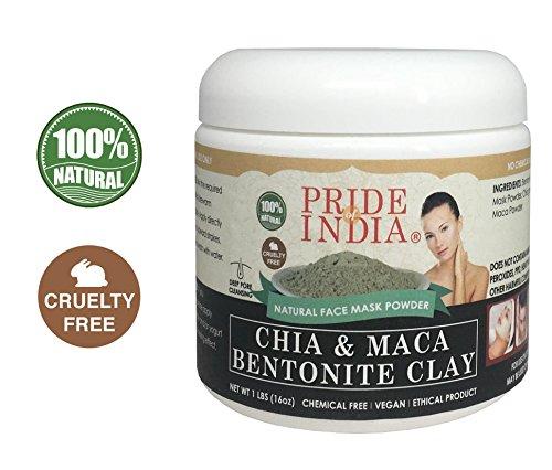 Pride Of India chia y maca arcilla de bentonita natural de la cara má