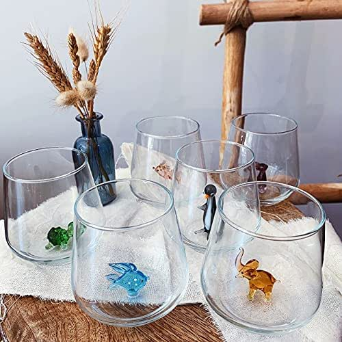 MINIZOO PARIS Verre à eau | Lot de 6 | 345cc | All Color | Fête | Cadeaux d'anniversaires pour femme | Figurines en Verre de Murano pour la décoration intérieur