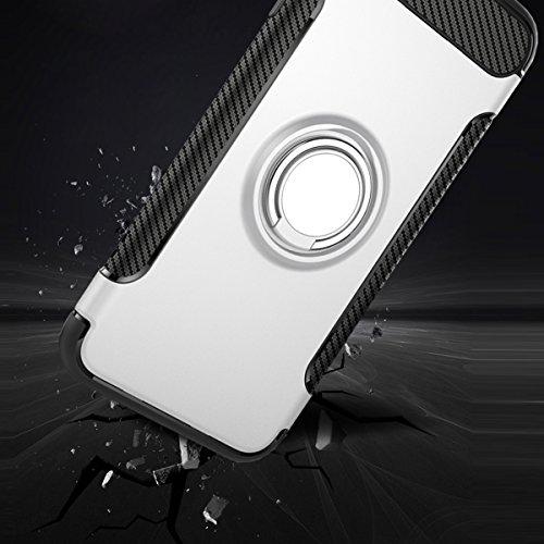 "iPhone 7 Hülle, HICASER Abnehmbare Hybrid Dual Layer Defender Case [Shock Proof] Carbon Faser TPU +PC Handyhülle mit Klappständer für iPhone 7 4.7"" Rose Gold Silber"