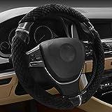 Hivel Winter Plusch Lenkradbezug Weich Warm Lenkradhulle Universal Anti Rutsch Lenkradschoner Fahrzeug Auto Lenkradabdeckung Vehicle Car Steering Wheel Cover 38cm - Schwarz
