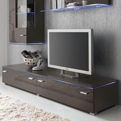 Anbauwand 3-tlg. Hochglanz Grau, TV-Element B: 110 cm, Hängevitrine B: 50 cm, Glasbodenpaneel B: 100 cm, Mindestbreite: ca. 180 cm, Tiefe: ca. 42 cm - 4