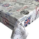 Wachstuch Breite & Länge wählbar - dcfix London Tower Weiss 3854657 - ECKIG 80 x 70 bzw. 70x80 cm abwaschbare Tischdecke Wachstücher Gartentischdecke
