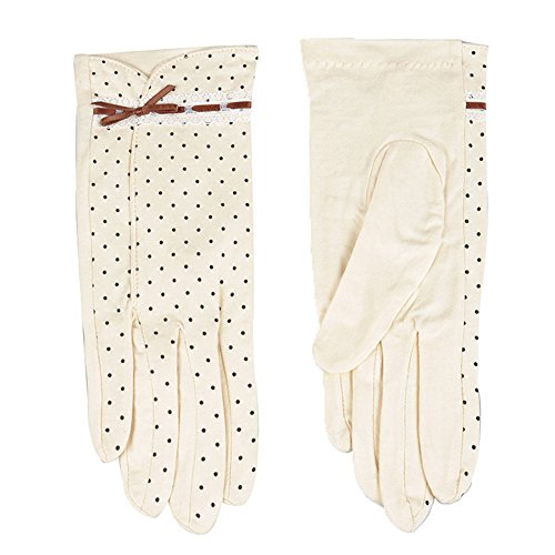 JYSPORT Frauen Handschuhe Summer Damen Wellenpunkt Baumwolle Gloves mit kurzen UV-Schutz Bogen Sun Driving Handschuhe (36)