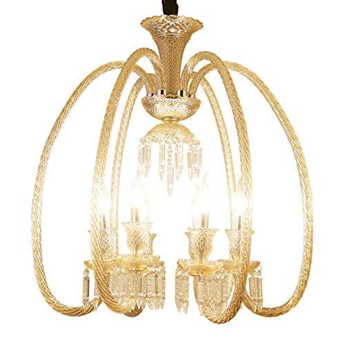 ZHAORLL Einfache Europäische Kerze Kristall Kronleuchter Hotel Engineering Lampe Kreative Restaurant Kristall Lampe Bar Gang Lampe 6 Lampe Kopf D63 * H73CM,8D650CM