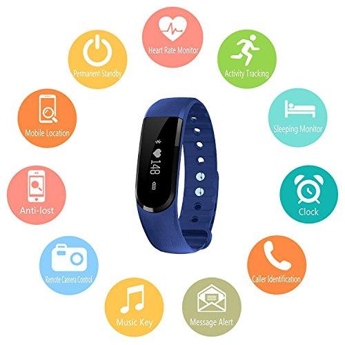 Herzfrequenzmesser Fitness-armband, LETSCOM Pulsuhren Aktivitätstracker Fitness Tracker mit Herzfrequenz-Monitor – Smart Aktivitätstracker Fitnessband Puls-Monitor-Armband Smart Schrittzähler Fitness armband für Android / iOS Smartphone, Bluetooth 4.0 IP67 wasserdichte Armband - 2