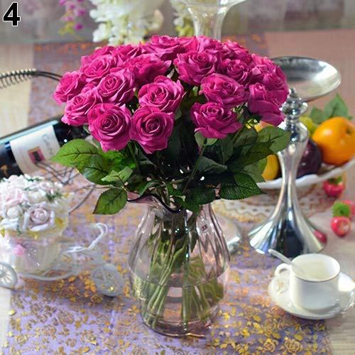 Homeofying 10 Stück künstliche Latex-Rosen Blumen Hochzeit Party Büro Tisch Bouquet Home Decor für Hochzeit für Baby Jungen oder Mädchen Zimmer rosarot