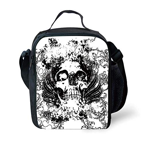 ZKHTO School Supplies Gothic,Scary Skull in Grunge Sketch Dead Themed Dark Horror Evil Illustration Image,Black and White for Girls or Boys Washable (Girl Dead Scary Evil)