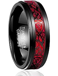 Nuncad Ring Herren/Damen Keltische Drachen mit Opal 8mm Schwarz-Rot, Unisex Ring aus Wolframcarbid für Hochzeit, Trauung, Partnerschaft, Events, Größe 54 bis 67 (14-27)