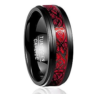Nuncad Ring Herren/Damen Keltische Drachen 8mm Rose Rot aus Wolframcarbid für Hochzeit, Trauung, Partnerschaft, Events, Größe 54 bis 67 (14-27)
