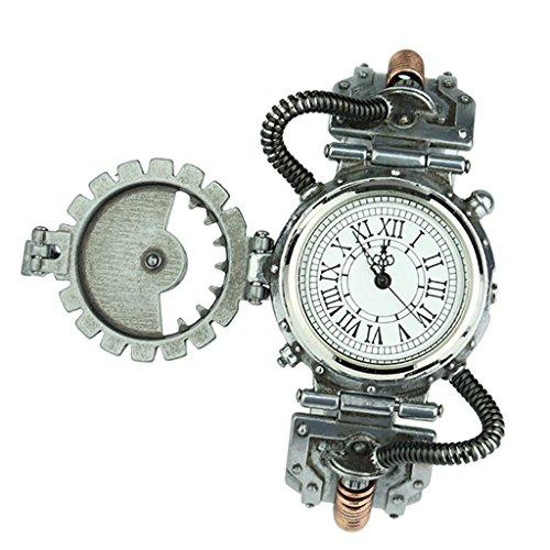 IPOTCH Reloj de Pulsera Relojería de Aleación de Movimiento de Cuarzo Steampunk Novedad Rock para Hombre - Blanco 1