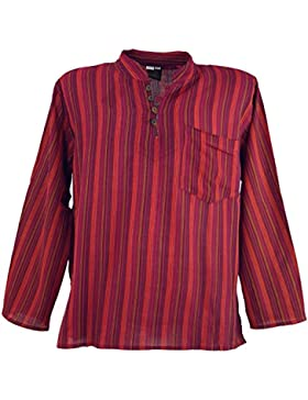 GURU-SHOP Camicia a Righe Nepal Fisher Hippie Camicia Goa, Dicotone, Camicie da Uomo