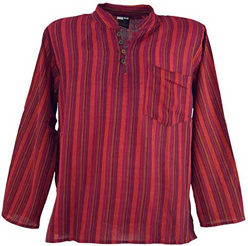 Guru-Shop Nepal Fischerhemd Gestreiftes Goa Hippie Hemd, Herren, Baumwolle, Männerhemden Alternative Bekleidung Rot