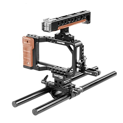 Camtree Hunt Professional Camera Cage with Top Handle & 15mm Rail Rod Support for Blackmagic Pocket Camera (CH-PC-BMPC)