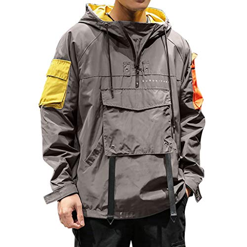 MOTOCO Männer Casual Hoodies Jacke Patchwork Langarm Rollkragen Hoodie Mit Tasche Reißverschluss Sport Outwear Mantel(XL,Dunkelgrau)