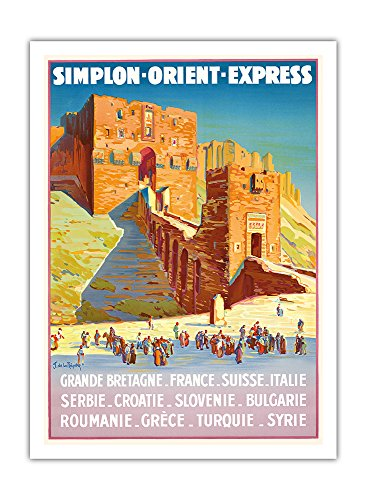 Syrien - Simplon Orient Express - Zitadelle von Aleppo - Vintage Retro Eisenbahn Reise Plakat Poster von Joseph de La Nézière c.1927 - Premium 290gsm Giclée Kunstdruck - 30.5cm x 41cm