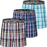 JINSHI Herren Pyjamahose Baumwolle Kurze Freizeithose Shorts mit Eingriff 3er Pack 2XL