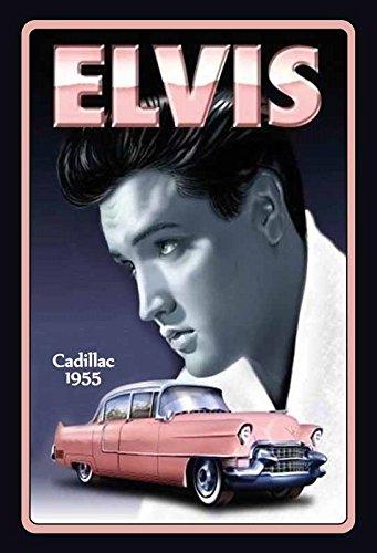Elvis Presley mit pink Cadillac 1955 blechschild (Presley-dekorationen Elvis)