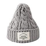 Fcostume Männer Frauen Herbst und Winter Dome Warme Strickmütze Outdoor Häkeln Strickmützen Beanie Slouchy Caps Hut (Grau)