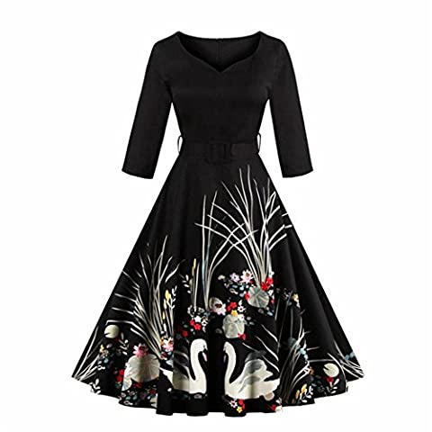 Wellwits Women's 3/4 Sleeves Swan Print Belted Vintage Swing Dress
