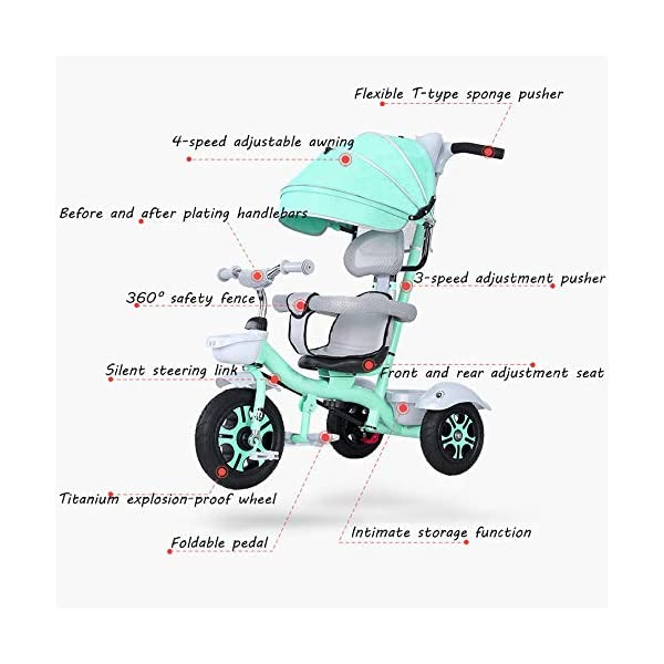 BGHKFF 3 In 1 Childrens Tricycles 1.5 To 5 Years 360° Swivelling Saddle Folding Sun Canopy Children's Pedal Tricycle Adjustable Handle Bar Blockable Rear Wheels Child Trike Maximum Weight 50 Kg,Cyan BGHKFF ★Material: High carbon steel frame, suitable for children aged 1.5-5, maximum weight 50 kg ★ 3-in-1 multi-function: convertible into stroller and tricycle. Remove the hand putter and awning, and the guardrail as a tricycle. ★Safety design: golden triangle structure, safe and stable; guardrail; rear wheel double brake 9
