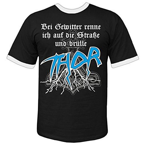 Männer und Herren T-Shirt Bei Gewitter brülle ich THOR Schwarz/Weiß