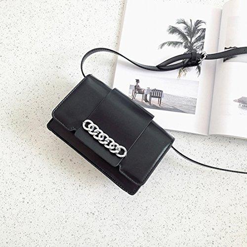 Weibliche Ketten Kleine Quadratisches Paket Mode Schulter Messenger Tasche Einfaches Paket Schwarz