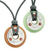 Triqueta celtique Amour Couple pièce de monnaie Donuts Jaspe Rouge Vert à quartz Amulette Colliers