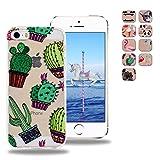 OuDu iPhone 5 5S SE TPU Hülle Flexible Weiche Zurück Crystal Clear Case Cover Etui Transparente Silikon Abdeckung Kristallklare Schale Anti-stoß Anti-Kratz Schutzhülle - Kaktus