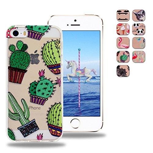 OuDu iPhone 5 5S SE TPU Hülle Flexible Weiche Zurück Crystal Clear Case Cover Etui Transparente Silikon Abdeckung Kristallklare Schale Anti-stoß Anti-Kratz Schutzhülle - Kaktus (Niedlich, Iphone 5 Ladegerät)