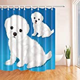 SRJ2018 Kids Love Animals Exta Long per Bath Catoon Baby Puppy Dog in Sapphire Blue per Bambini Impermeabile Ganci bagno180X180CM