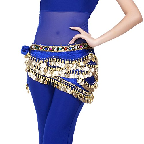 Dance Bh Strass Kostüme (Dance Fairy Elegante 328 Coins Royal Blue Wrap Samtrock Gürtel)