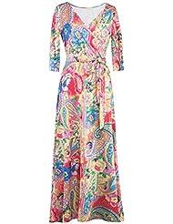 miholl femmes Paris de Bohême 3/4Housse Faux Wrap Maxi robe longue