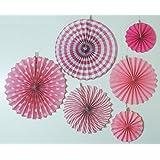 My Party Suppliers Baby Shower Pink Fan Decorations - 6pcs /Designer Paper Fan Decoration Set Of 6 / DIY Party Decoration Fans / Birthday Decoration Fan / Fiesta Hanging Paper Fans Decorations / Baby Girl
