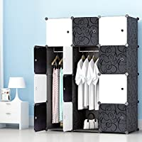 PREMAG Portable Wardrobe for Hanging Clothes, Combination Armoire, Modular Cabinet for Space Saving, Ideal Storage Organizer Cube Closet for books, toys, towels(12-Cube)