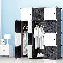 ETTBJA Armario Modular para Almacenaje de Ropa, Zapatos, Juguetes o Libros. Blanco y Negro con motivos Florales (12 Cubos con 2 Barras para Perchas)
