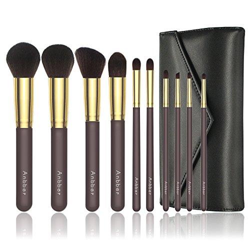 Pinceau de maquillage Set Anbber 10pcs brosses cosmétiques professionnels Elite avec soies en fibres synthétiques douces et sans cruauté pour un look impeccable